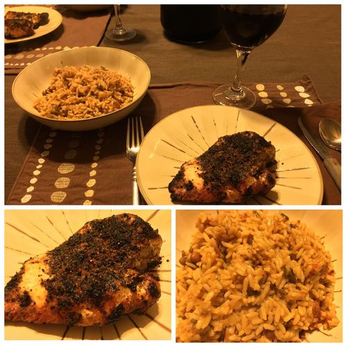 Tonight, I grilled chicken breasts. Served with Spanish rice with beans & chili peppers. And my homemade 2014 Californian Chianti wine. ICanCookMyAssOff ItsAnItalianThing Grilling HomemadeItalianWine Nomnombomb Food Porn Awards MyFoodPics Food Porn