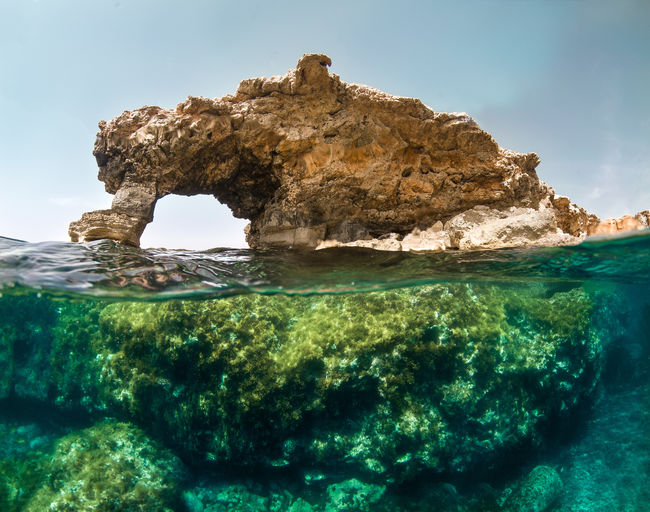 Ras Il-Hamrija Window Rock Water Sea Underwater Malta Split Ras Il-hamrija Nature Photography Split Photo Rock - Object Overunder Beauty In Nature Nature Rock Formation Marine Mediteranean Nature Snorkeling Diving First Eyeem Photo