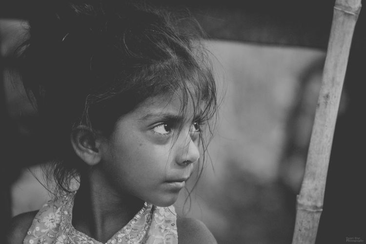 stolen innocence Indian Child Indian Children Little Girl Girl Innocence Human Face Blackandwhite Pretty Mascara Eyebrow Thoughtful Babyhood Tensed Disappointment Tangled Hair Grief