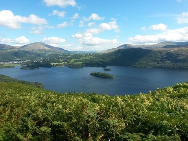 Beauty In Nature No People Day Water Lake Landscape Reflection Sky Scenics Green Grass Cloud - Sky The Lake District  Travel Destinations Tranquil Scene Beauty Outdoors Mountain Nature Blue Sky, White Clouds Tranquility Sunny Day Lush - Description