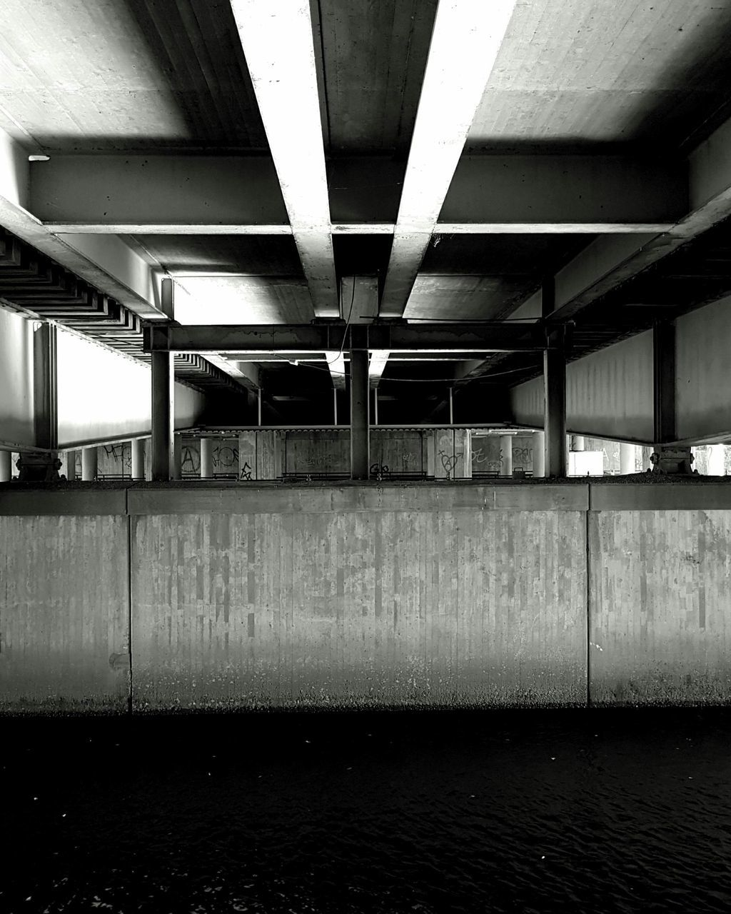 architecture, built structure, bridge - man made structure, connection, no people, indoors, transportation, underneath, day, water, under, parking garage