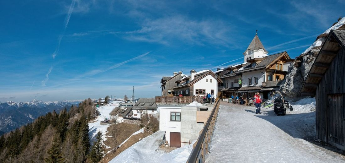 Panoramic view of buildings against sky during winter