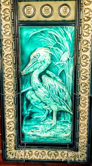 Tile Stone Structure Pelican Art Deco Art Deco Architecture Relic Green Green Color Wall Covering Decoration Decore Pretty Pretty Girl Bird Peacock Astrology Sign Pattern Full Frame Ornate Close-up