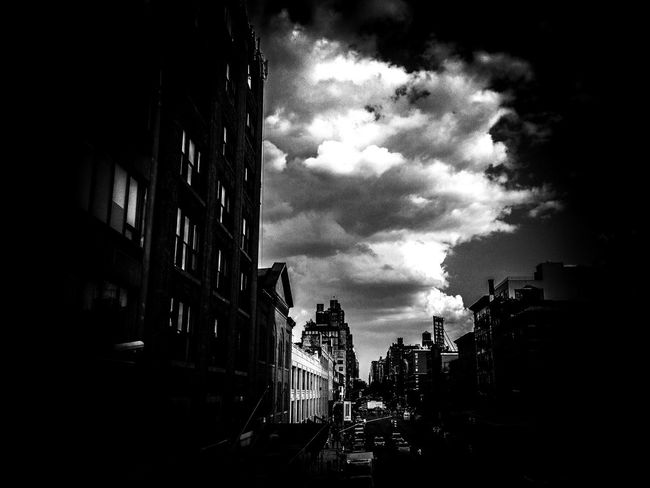 NYC Architecture Houses West Side Darkness Clouds And Sky B&w Street Photography