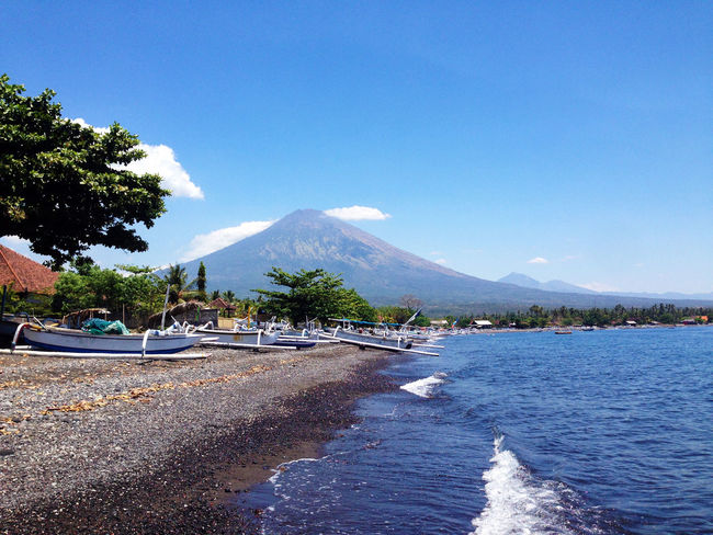 Bali Holiday INDONESIA Mount Agung Travel Traveling Vacations Wanderlust Amed Amed Beach , Bali Beauty In Nature Blue Clear Sky Day Explore Moored Mountain Nature Nautical Vessel No People Outdoors Sand Scenics Sea Sky Tranquility Transportation Travel Destinations Tree Water
