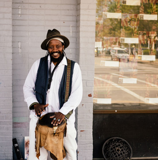 Street photography One Man Only Looking At Camera Portrait Musician Men Smiling The Street Photographer - 2017 EyeEm Awards