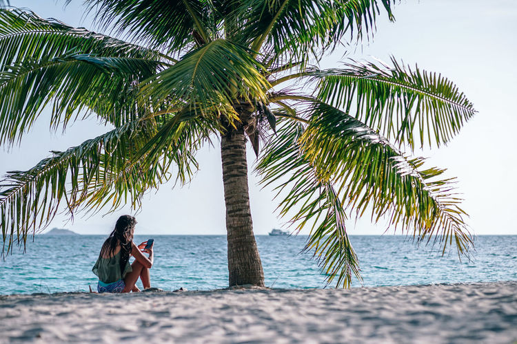Young women sitting under palm tree using her cell phone at Zen Beach during sunset. Beach Photography. Tropical weather with a passenger boat passing by in the sea. Beach Life Beautiful Koh Phangan Nature Vacations View Young Backgrounds Beach Blue Coast Island Landscape Ocean Outdoors Relax Sand Scenics Sea Sky Tourism Tropical Wallpaper Women Zen