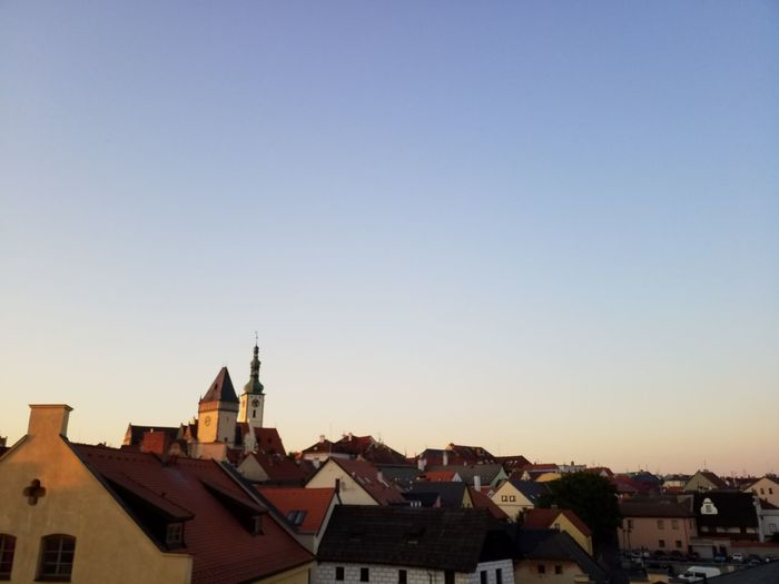 Sunset over Tabor Sunset Tabor  Czech Republic Rooftops Sky Evening Sun Light Travel Blue Sky Heaven Cloudfree Church Town Tabor  Into The Light City Skyline