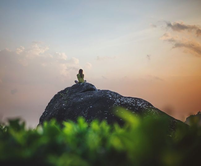 India Kerala Munnar Tea Plantation  Tea Plantations Nature Nature_collection Single Woman Woman Sunset One Person Stone Woman Sitting Beauty In Nature Outdoors Scenics Cloud - Sky