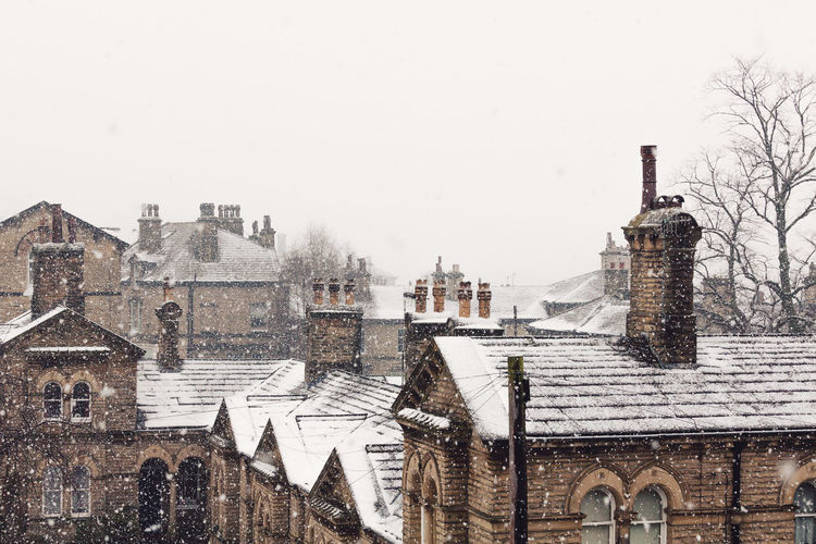 Architecture Chimneys City Cityscape Copy Space Freezing Frozen Nature Weather Winter Yorkshire Beauty In Nature Building Exterior Cold Temperature Heritage No People Outdoors Roofs Rooftops Saltaire Snow Snowing Stone Village Vintage