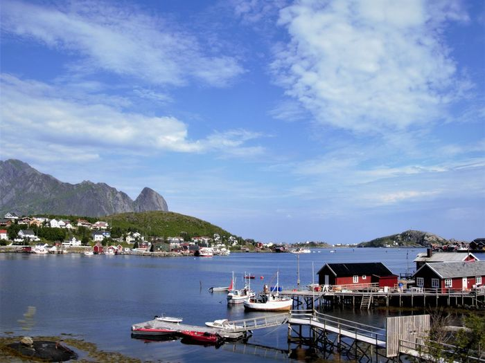 Nautical Vessel Water Transportation Mountain Sky Mode Of Transportation Cloud - Sky Architecture Building Exterior Built Structure Moored Nature Day Sea City Harbor Mountain Range Building No People Outdoors Bay Marina Lofoten Islands North Of Norway It's About The Journey