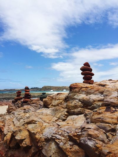 Rocks Rocks And Water Statues Installation Art Skies Blue Beach Walking Around Enjoying The View Art ArtWork Bythebeach Creativity Creativity Has No Limits PhillipIsland Smithsbeach
