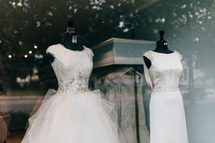 View of dress at clothing store