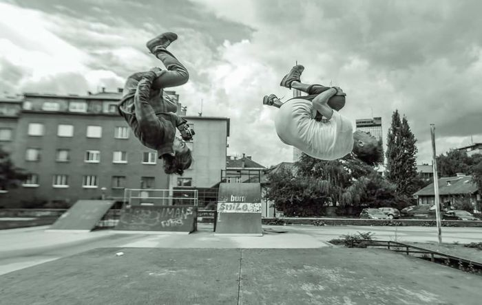 Enjoy The New Normal City People Black & White Parkour Trainning Day Outdoors Sports In The City Jumps Unique Creative EyeEm Best Shots
