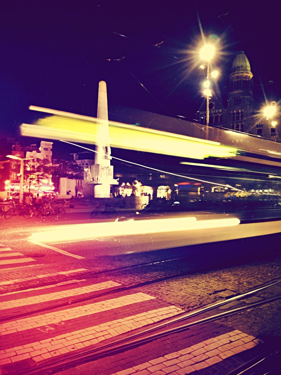 transportation, speed, night, illuminated, long exposure, light trail, blurred motion, motion, road, no people, outdoors, high street, architecture, sky