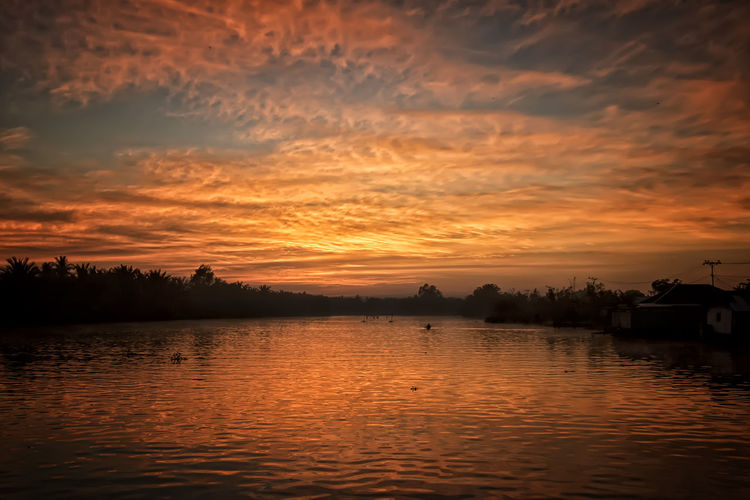 Sunrise at river to Lokbaintan Floating Market - Landscape Photo Collection Sunset Water Sky Scenics - Nature Beauty In Nature Cloud - Sky Orange Color Tranquil Scene Tranquility Lake No People Nature Waterfront Reflection Idyllic Tree Non-urban Scene Plant Transportation Outdoors