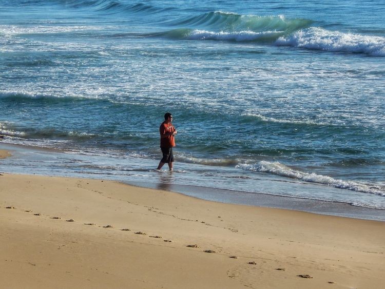 People And Places Man Alone In Nature Coastline Beach Shore Standing Fishing Tranquil Scene Leisure Activity Full Length Wave Travel Brou Beach NSW Australia