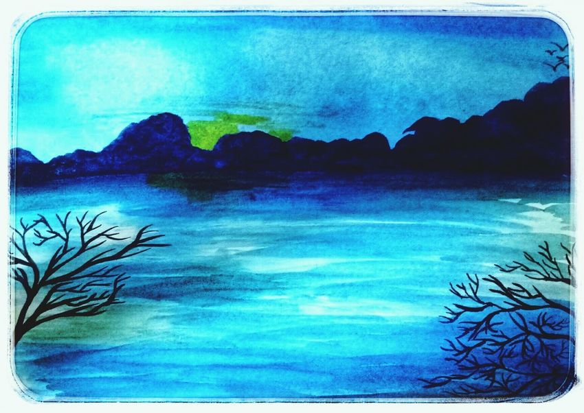 Water Tree Sea Mountain Blue Watercolor Painting Sky Landscape Horizon Over Water