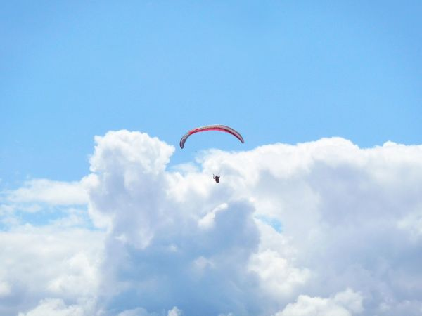 Soaring in the air Flying Paraglider Clouds Sky Blue Free Silence Air France Peaceful Above Soaring High Paragliding Paragliding Fun