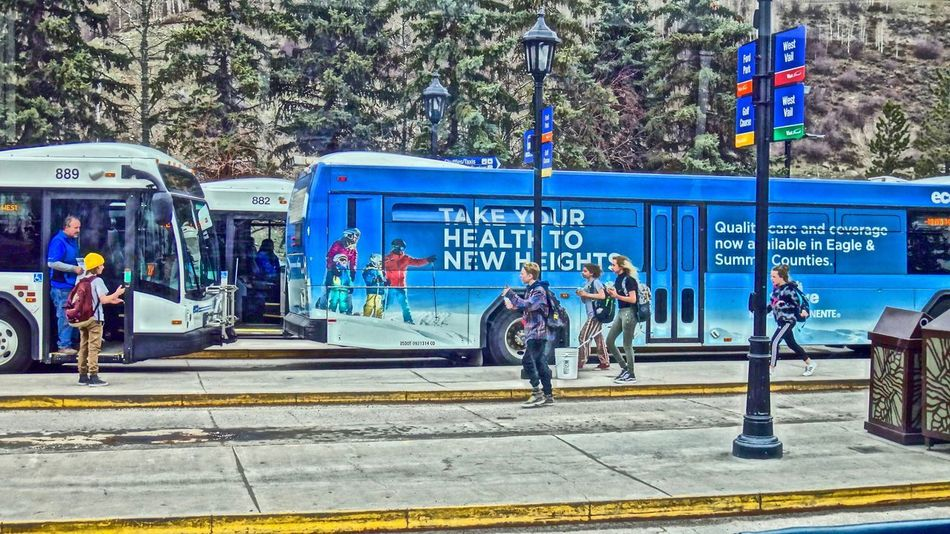 Bus Children Running Day Outdoors People Springtime Transportation Vail  Vail Colorado Vail,co