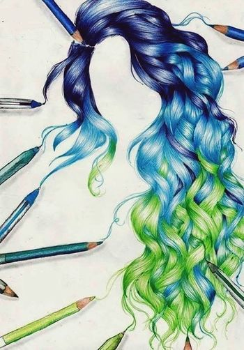 Amazing drawing Drawing Hair Hairstyle Curly Hair! Long Hair Colorful Hair