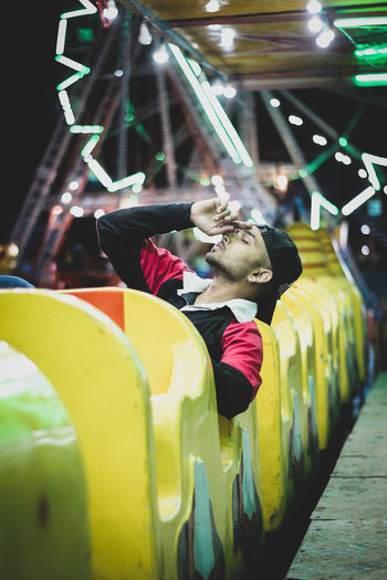 Side view of people in amusement park