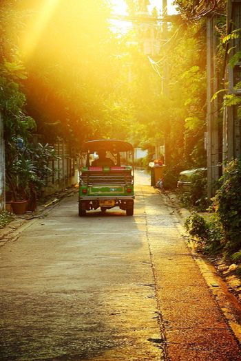 Little Tuck Tuck leaving into the sunset. Transportation Thailand Urban Landscape Exploring City Travel Photography Eye4photography  EyeEm Gallery Sunset_collection Sunset Silhouettes Bangkok Tranquil Scene Light And Shadow