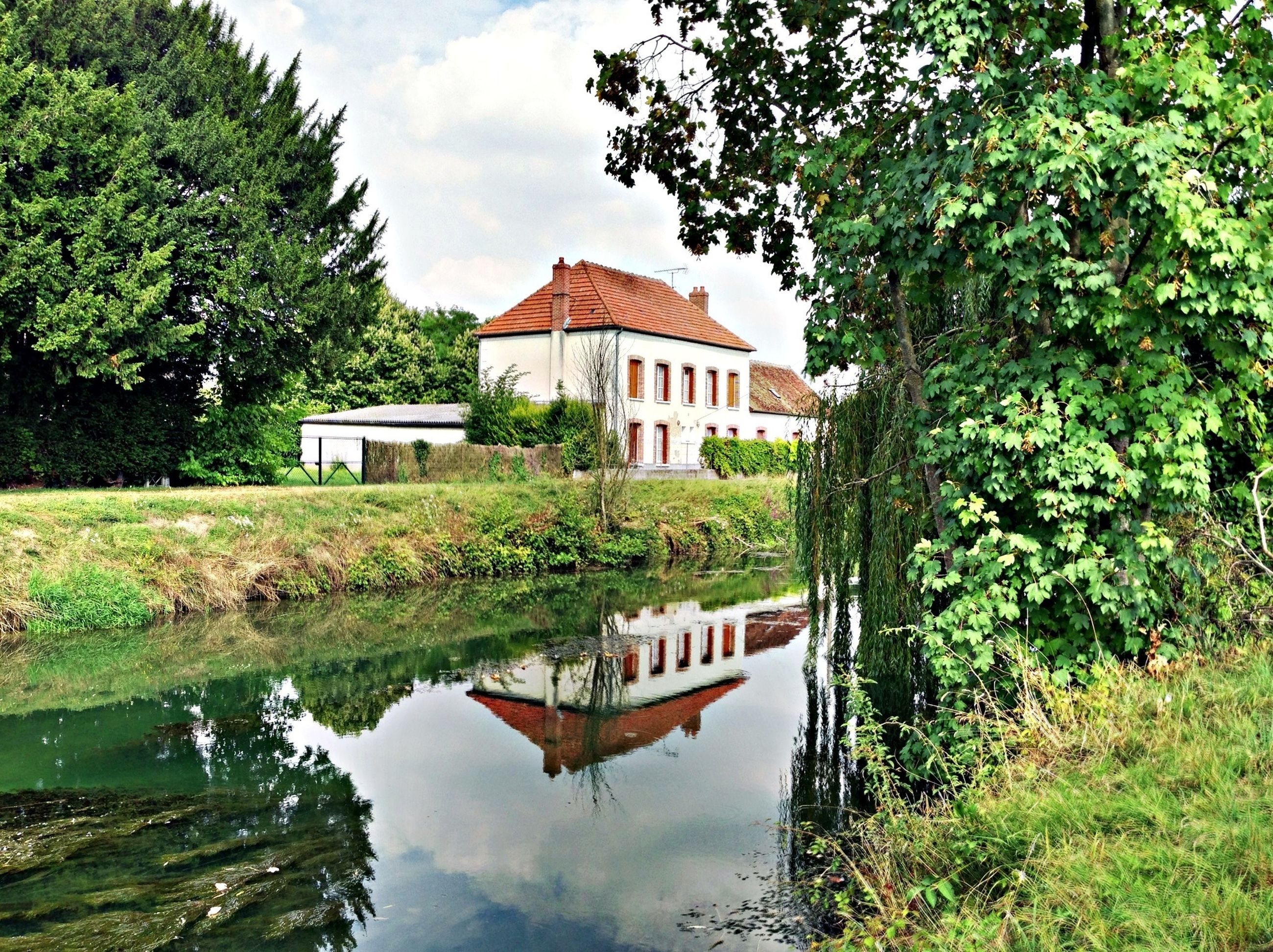 water, tree, architecture, built structure, building exterior, reflection, house, sky, green color, growth, lake, plant, tranquility, waterfront, nature, tranquil scene, canal, pond, day, grass
