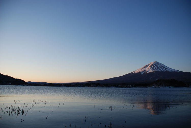 Scenic view of lake and mt fuji against blue sky during sunset