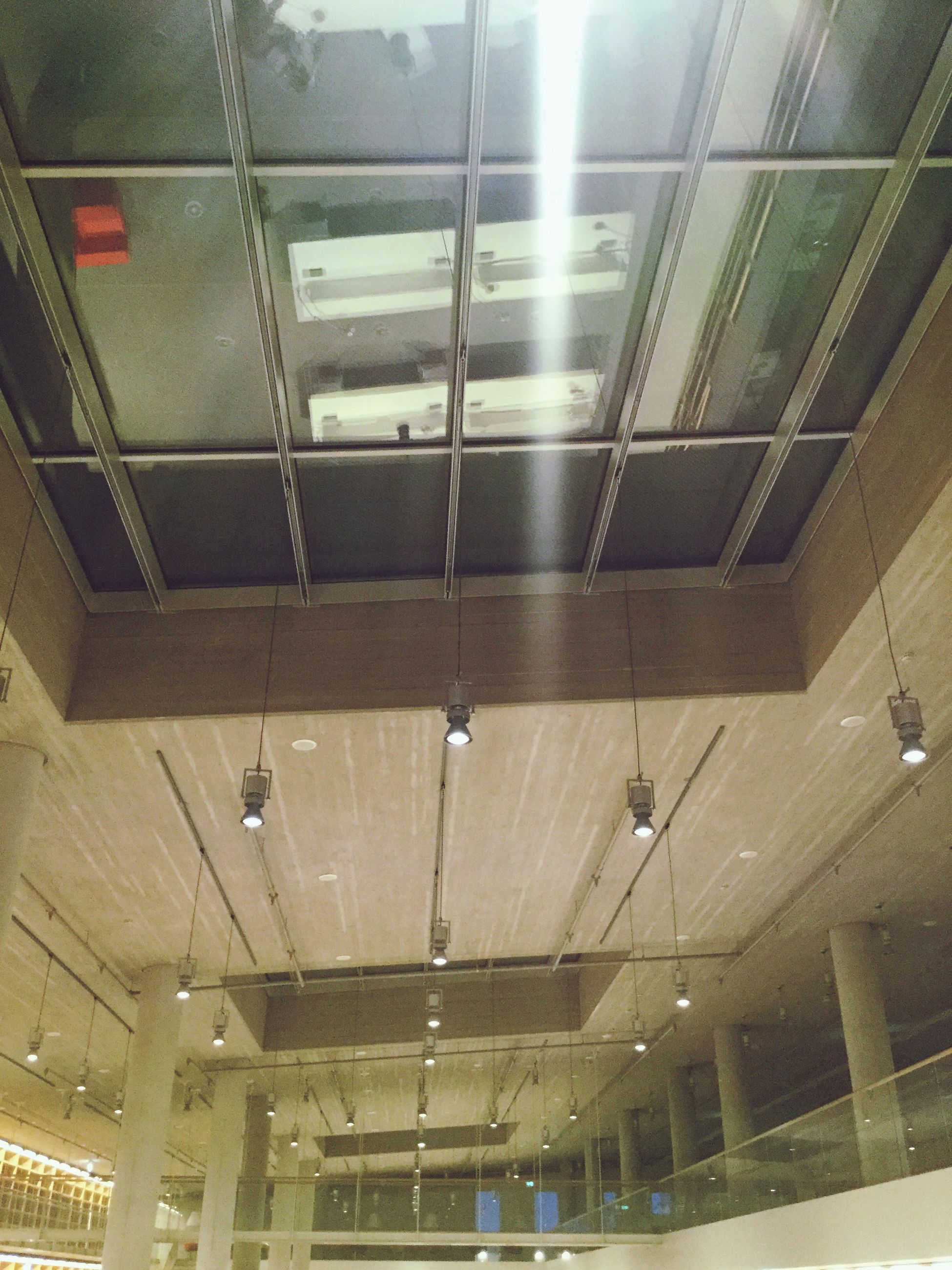 ceiling, indoors, illuminated, low angle view, no people, architecture, day