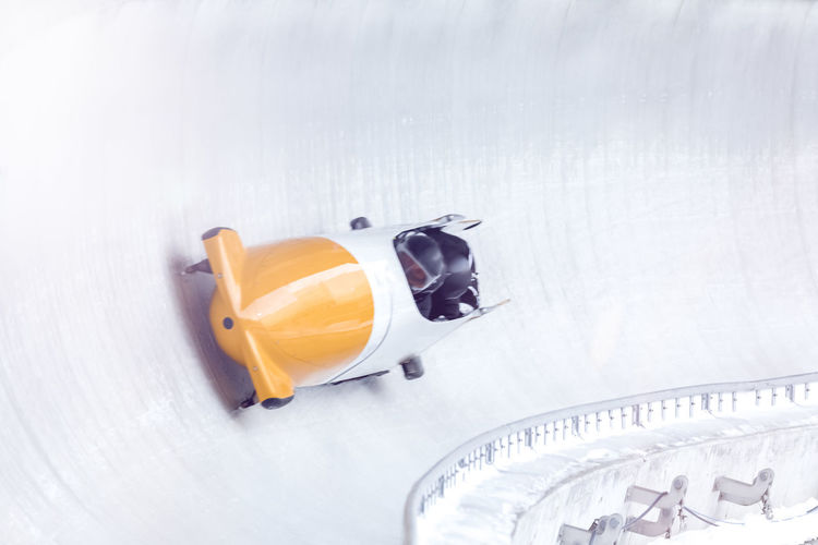 High angle view of people during bobsledding