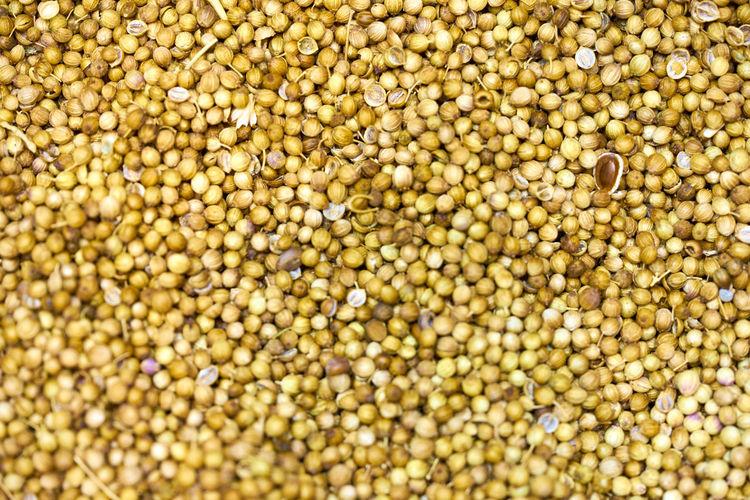 Full frame shot of coriander seeds