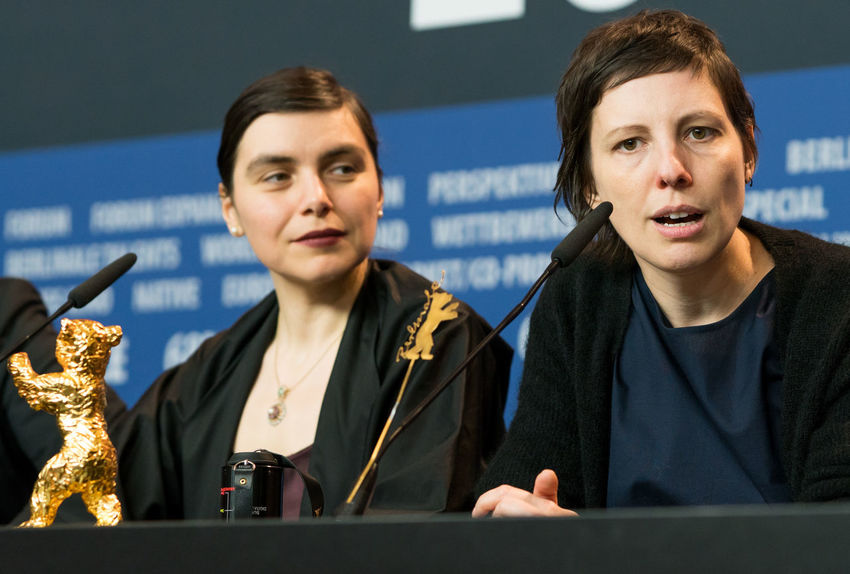 Berlin, Germany - February 24, 2018: Director Adina Pintilie, Golden Bear Award for Best Film 'Touch Me Not', and producer Bianca Oana at the Award Winners press conference during the 68th Berlinale AWARD Closing Ceremony Film Festival Golden Bear Interview Adina Pintilie Arts Culture And Entertainment Berlinale Berlinale 2018 Berlinale Festival Berlinale2018 Best Film Bianca Oana Director Entertainment Entertainment Event Film Director Front View Golden Bear Award Mass Media People Press Conference Touchmenot Two People Winner