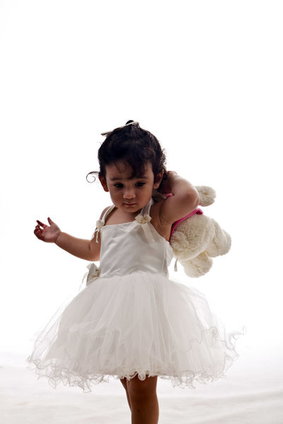 Ballet Dancer Child Childhood Children Only Girls Looking Down One Girl Only One Person People Portrait White Color
