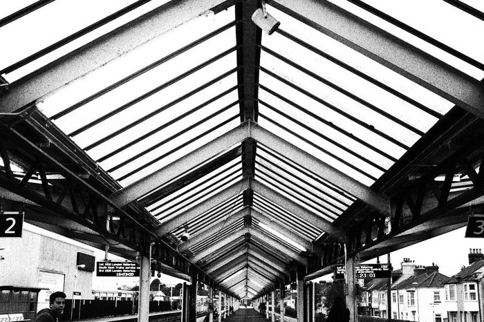 #Black&White #blackandwhite #daylight #outdoor #symmetry #trainstation #travel #weymouth# Architecture Blackandwhite Ceiling Day No People Traveling