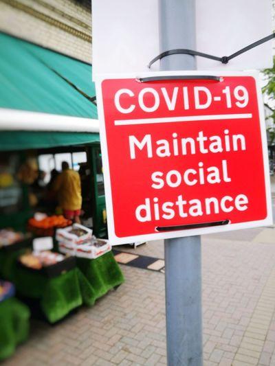 Warning sign on street