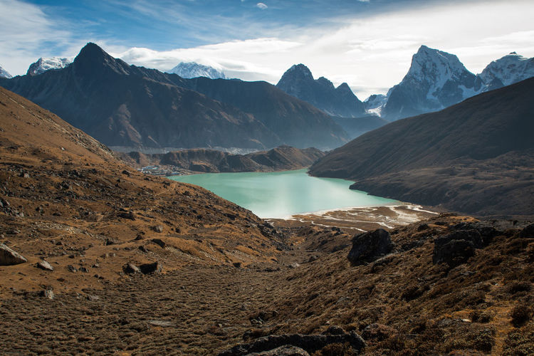 Panorama beautiful view of Gokyo village with Gokyo lake and snow mountain in background on everest base camp trekking route region,Nepal Everest Base Camp Trek Gokyo Lake Gokyo Trek Nature Lake Mountain Travel Destinations Nepal Travel Nepal Glacier Village Iddylic