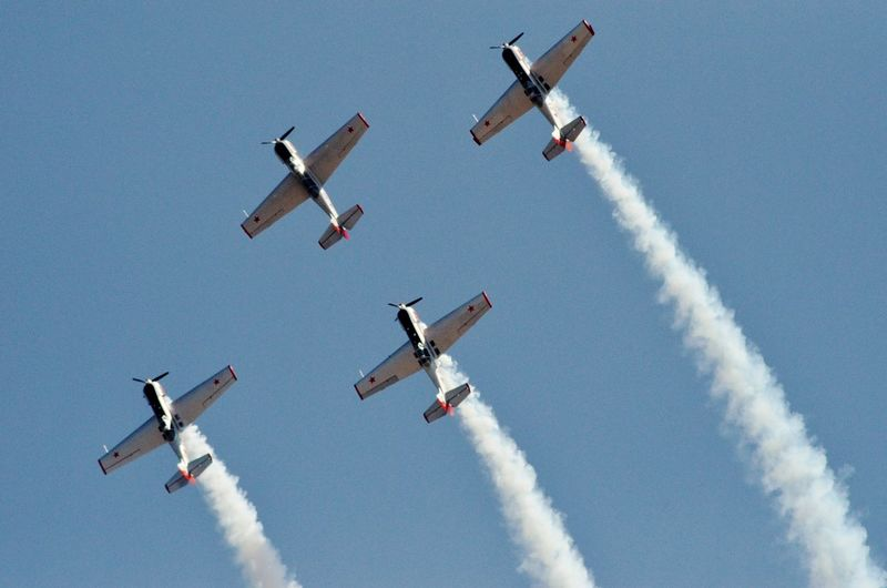 EyeEm Selects Airshow Airplane Aerobatics Teamwork Formation Flying Stunt Flying Military