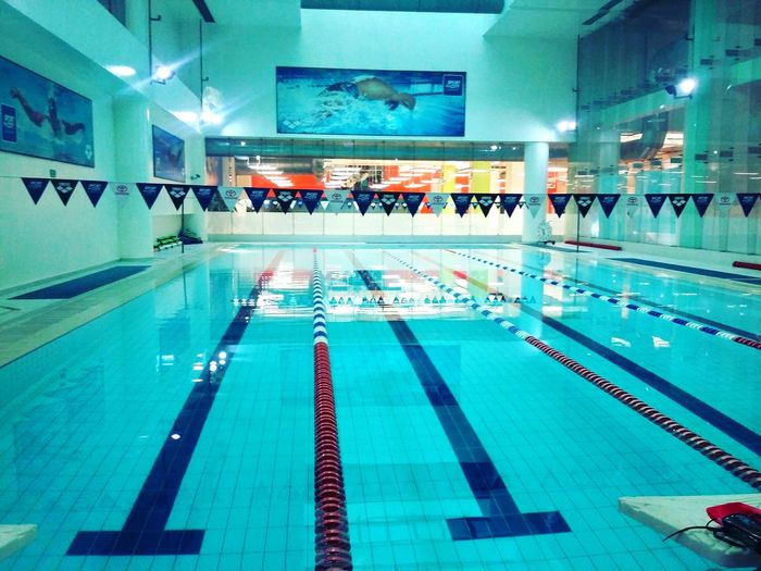 Swimming Swimming Pool Sport Gym Traning Hard Blue Hour