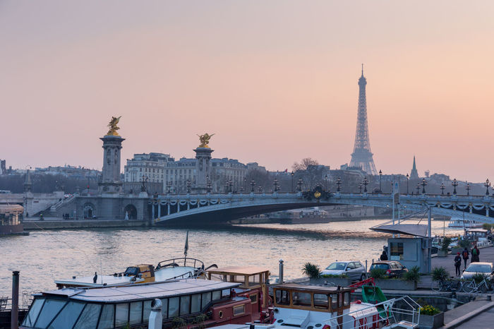 Architecture Bridge - Man Made Structure Capital Cities  City City Life Culture Eiffel Tower Famous Place Outdoors Paris Paris ❤ River Sky Sunset Tourism Travel Destinations Water