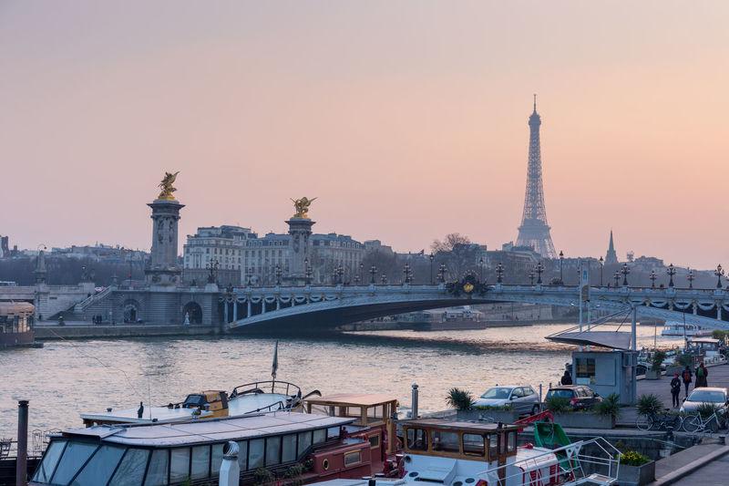 Architecture Bridge - Man Made Structure Capital Cities  City City Life Culture Eiffel Tower Famous Place Outdoors Paris Paris ❤ River Sky Sunset Tourism Travel Destinations Water