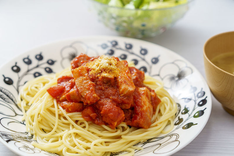 Close-up of pasta in plate on table