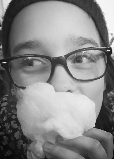 Close-up Young Adult Looking At Camera Leisure Activity Person Focus On Foreground Hull City Of Culture 2017 Hull Fair Full Frame Happy Child  Candy Floss Cotton Candy Beard Eyeglasses  Black And White