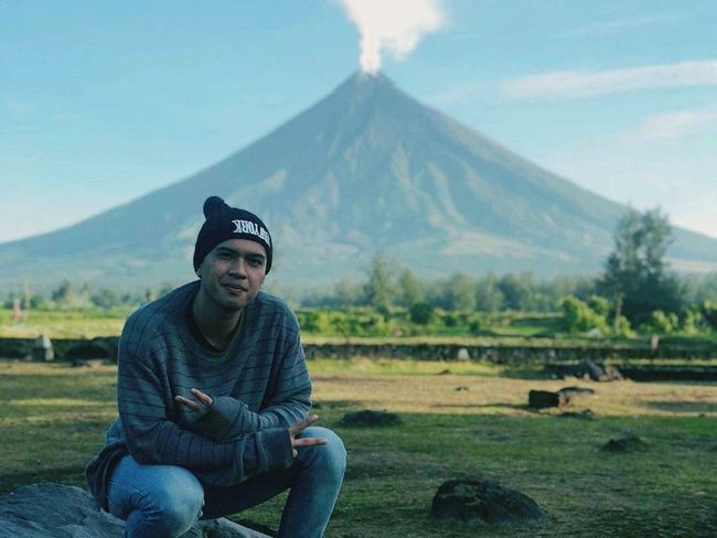 the famous Volcano cone shape Mayon Mayon Volcano Daraga, Albay Philippines Portrait Sitting Men Rural Scene Looking At Camera City Mountain Farmer Agriculture Sky