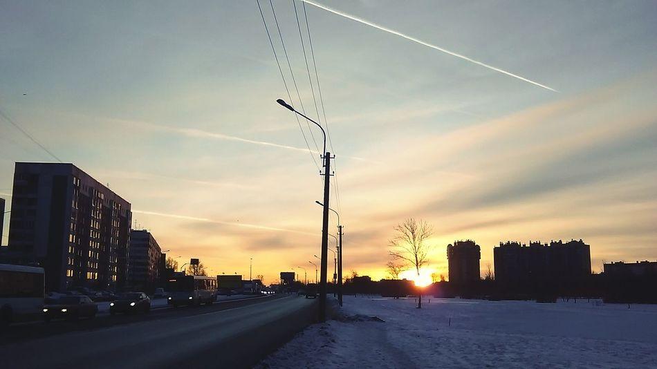 Street Sun Snow Evening Sky Evening Sun Sunset