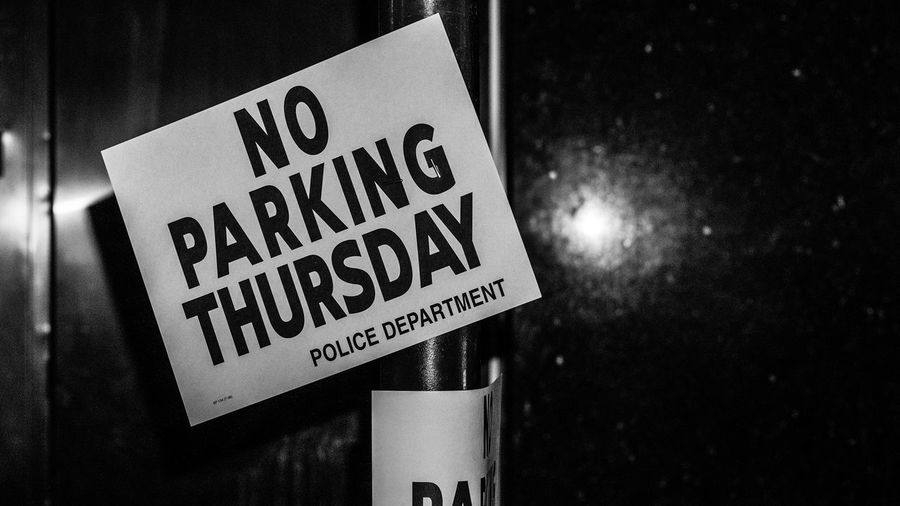 Dismay for Drivers. Black And White Photography Flash Photography NYC Street Photography Streetphoto_bw Sign No Parking NYPD Light And Shadow Sony A6000 Project365