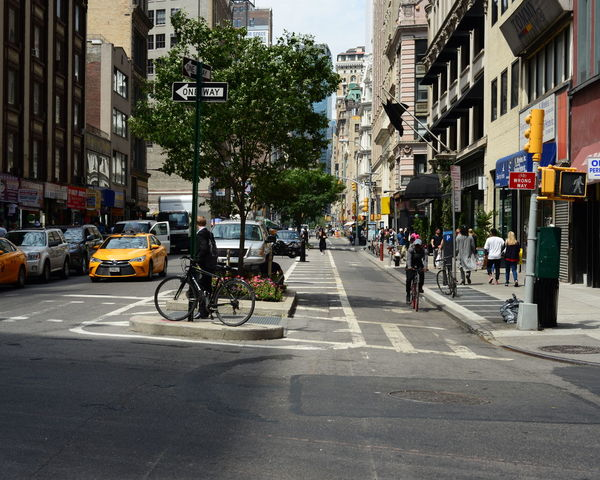 Architecture Bike Lane Building Building Exterior Built Structure City City Life City Street Day Diminishing Perspective Land Vehicle Lifestyles Mode Of Transport NYC Outdoors Parking Road Road Marking Sky Stationary Street The Way Forward Transportation
