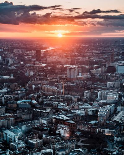 London look out Cityscape City Sunset Aerial View High Angle View Architecture Building Exterior Cloud - Sky Sky City Life Urban Skyline Sunlight Skyscraper No People Outdoors Sun Panoramic Travel Destinations Illuminated Scenics London