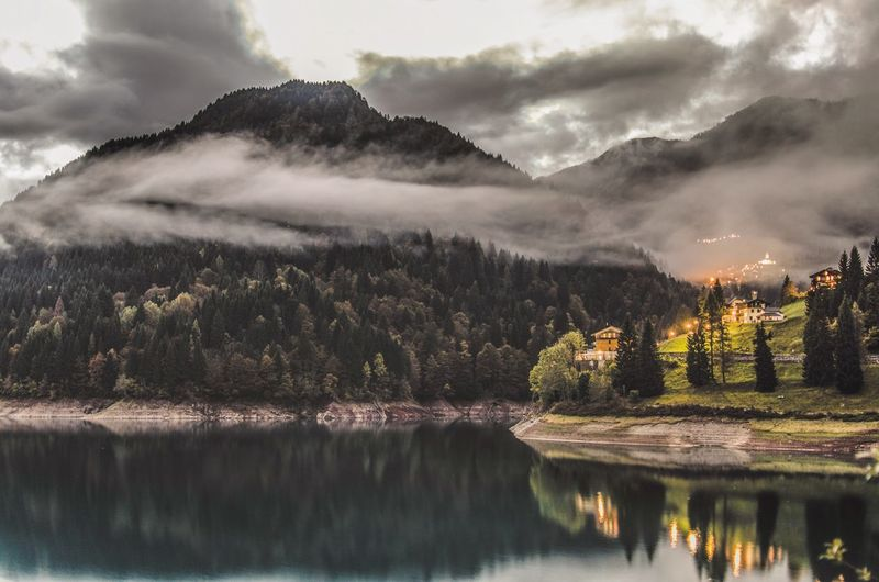 Astronomy Beauty In Nature Cloud - Sky Day Growth Horizontal Lake Landscape Mountain Nature No People Outdoors Reflection Reflection Lake Scenics Sky Tranquility Tree Water