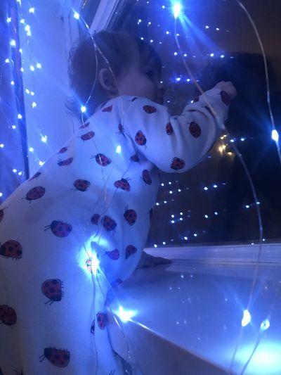 High angle view portrait of illuminated christmas lights